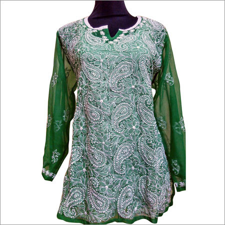 Chikan embroidery Cotton Kurtis