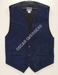 Blue Leather Waist Coat