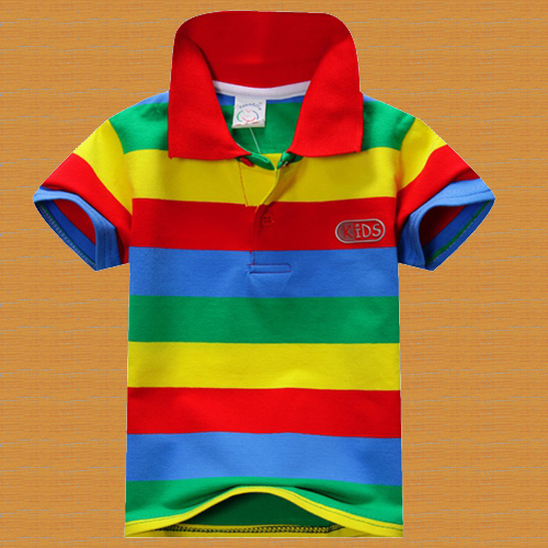Kids collar stripped t shirt