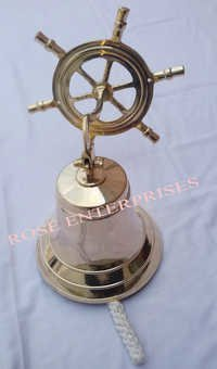 Nautical Vintage Brass Hanging Wheel Ship Bell
