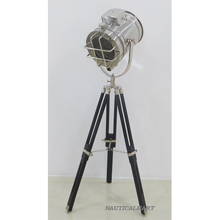 Chrome Finish Search Light With Black Tripod Stand