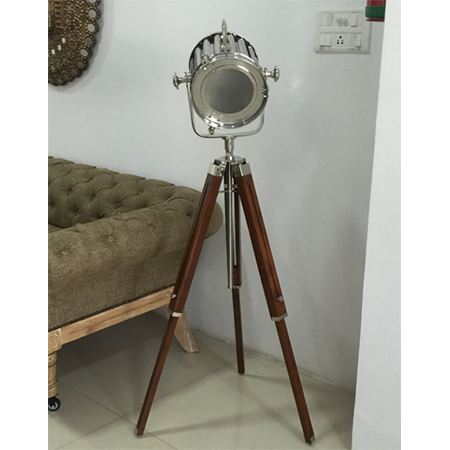 Designer's Nickel Search Light With Wooden Tripod Stand