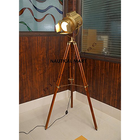 Photo Studio Marine Floor Lamp  With  Wooden Tripod Stand