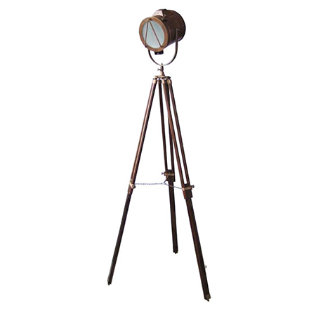 Brown Antique Search Light With Wooden Tripod Stand