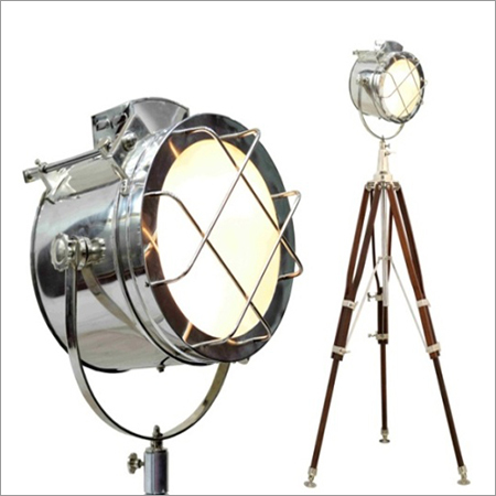 Nautical Spot Light Search Light With Wooden Stand