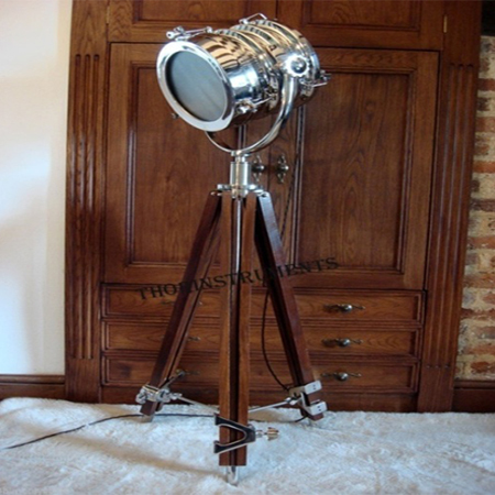 Hollywood Marine Search Light With Wooden Tripod Stand