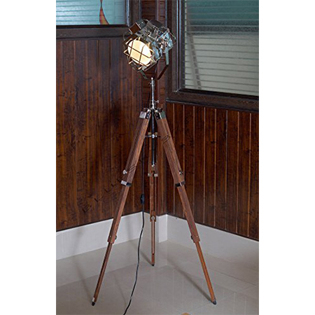 Marine Spot Search Light With Teak  Wooden Tripod Stand