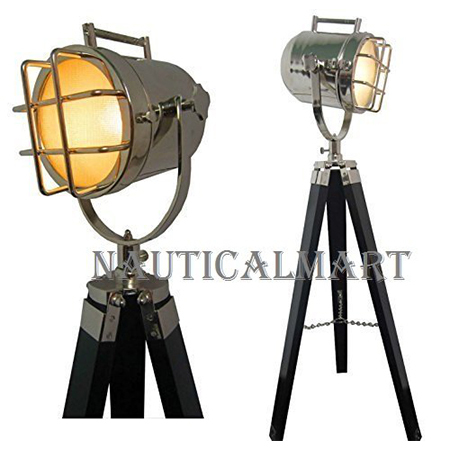 Marine Search Light With Teak Black Tripod Stand