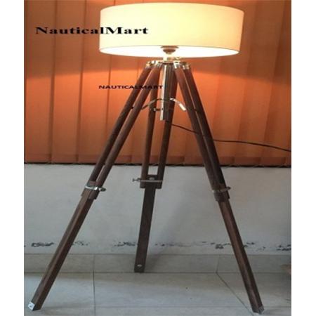 Designer Floor Lamp With Teak Tripod Stand