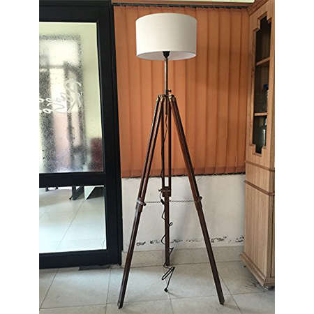 Nautical Floor Lamp With Wooden Stand