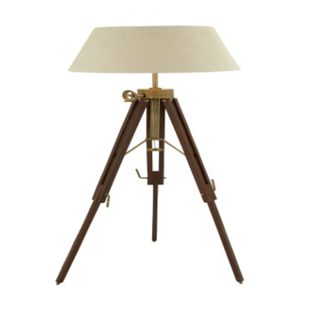Designer Floor Lamp With Wooden Tripod Stand