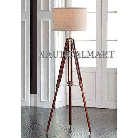 Timber Floor Lamp Teak  Wooden Tripod Stand