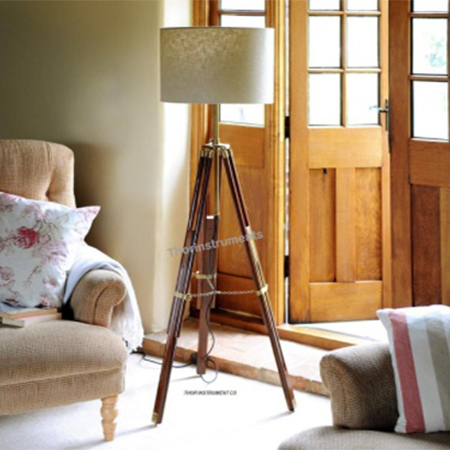Floor Lamp With Wooden Tripod Stand For Living Room