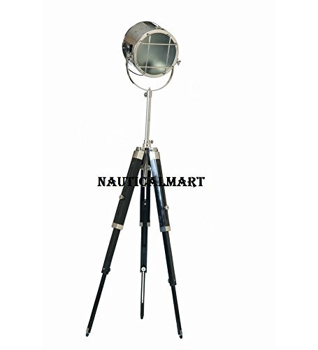 Designer Search Light Corner Lamp With Wooden Tripod Stand