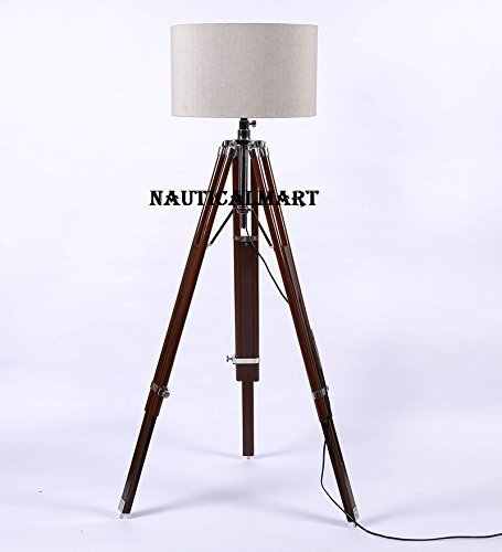 Classical Designer Tripod Floor Lamp With Teak Wood Stand For Living Room