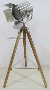 Replica Vintage Theater Industrial Searchlight Tripod Floor Lamp Chrome Finish