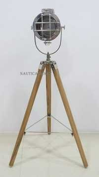 Marine Collectible Designer Spot Searchlight With Wooden Tripod Floor Lamp