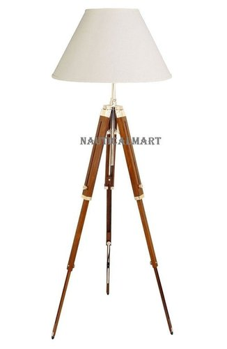 Classical Designer Marine Searchlight Floor Lamp with Wooden Tripod Stand
