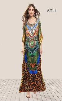 Digital Printed Chiffon Beach Kaftan