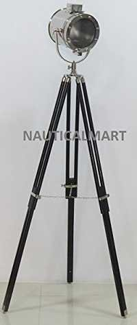 Designer Maritime Spot Searchlight Studio Floor Lamp With Wooden Tripod Stand