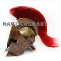 300 King Leonidas Spartan Armor Helmet With Copper Antique Finish - Red Plume
