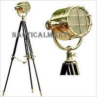 Vintage Spot Search Light Marine Floor Lamp With Wooden Tripod Stand