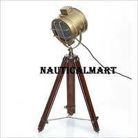 Marine Collectibles Spot Search Light With Brown Tripod Stand