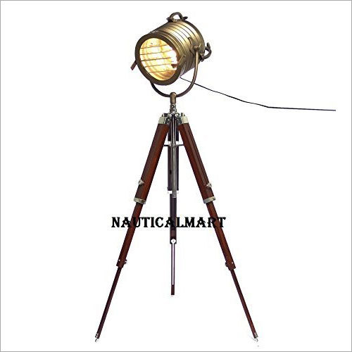 Nautical Designer Spot Search Light Antique brass Finish With Tripod Stand