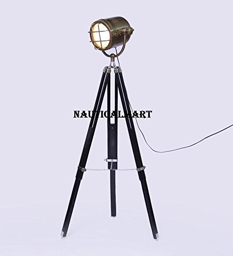 Vintage Design Spot Search Light  With Teak Wood Tripod Stand