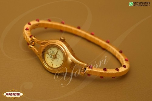 Yellow Thread With Ruby Stones Designer Watch