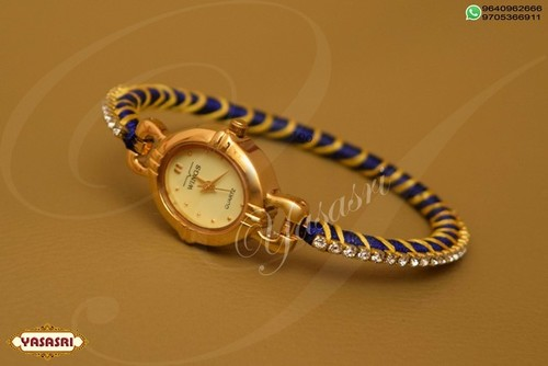 Yellow and blue threaded watch