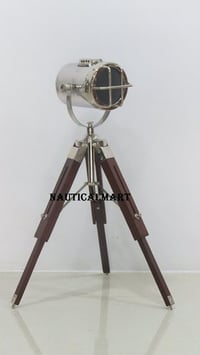 Marine Search Light Corner Floor Lamp With Teak Wooden Stand