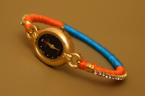 Orange,Blue Threaded Watch