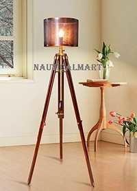 Designer Antique Brass Finish Wooden Tripod Floor Lamp For Living Room