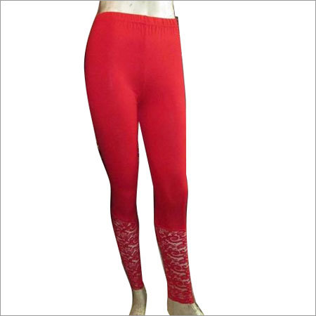 Red Cotton Lycra Legging