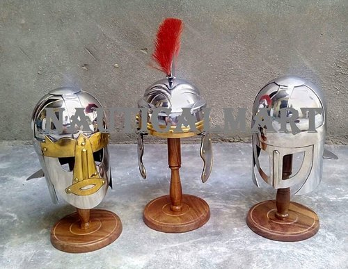Medieval Roman Centurion Helmet Set Of 3 Gladiator Costume Miniature