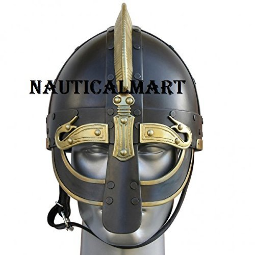 Medieval Viking De Luxe Ormr Helmet With Brass Fittings - Black