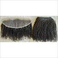 Curly steam Human hair weft with matching frontal