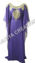 Glamorous Purple Gold Work Farasha Kaftan Dress