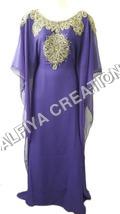 Glamorous Purple Gold Work Farasha Kaftan Dress