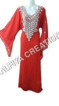 Bright Red Pearl Work Bell Sleeves Farasha Kaftan