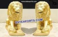 Golden Loin Fiber Statue