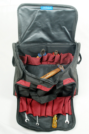 Heavy T Bag Open with tools
