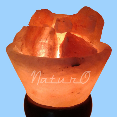 Naturo Rocksalt Conical Firebowl Lamp With Crystal