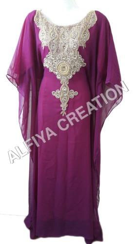Gorgeous gold work arabic wear kaftan jalabiya