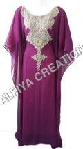 Gorgeous gold work arabic wear kaftan jalabiya