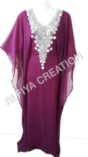 Silver stone work dubai evening wear farasha kaftan