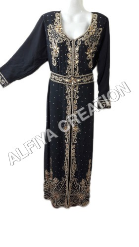 Gold embroidered maghribi moroccan farasha kaftan dress