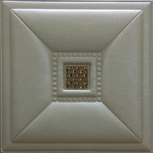 Leather Tiles Metallic Beige