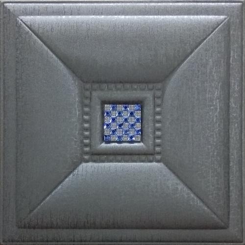 Metallic Silver Leather Tiles